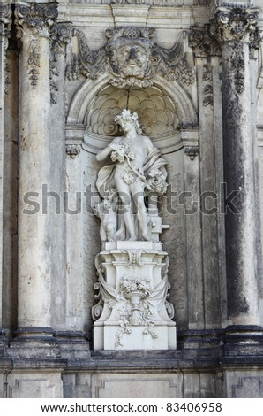 Statue of Bacchus in Dresden Zwinger, Germany - stock photo