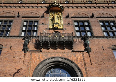 Statue of Bishop Absalon, the founder of Copenhagen on the city hall  - stock photo