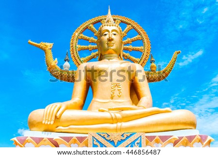 Statue of Buddha in Thailand, island Koh Samui. Buddhism religion concept - stock photo