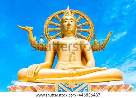 Statue of Buddha in Thailand, island Koh Samui. Buddhism religion concept - stock photo
