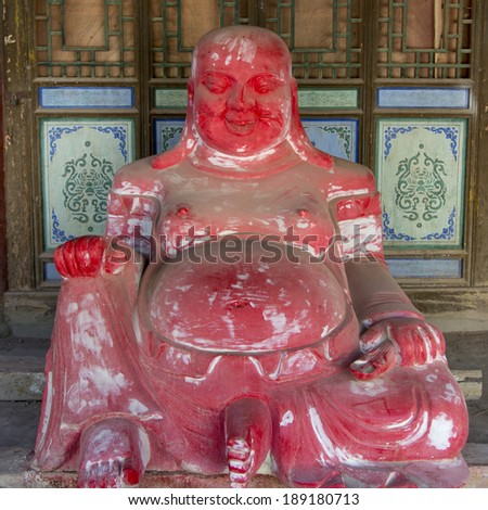 Statue of Buddha in the Lei Yinsi Temple, Dunhuang, Jiuquan, Gansu Province, China - stock photo
