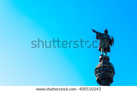 statue of christopher columbus in barcelona - stock photo