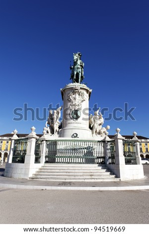 statue of commerce square in Lisbon, Portugal - stock photo