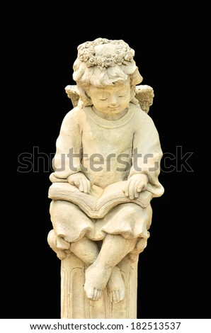 Statue of Cupid on black background - stock photo