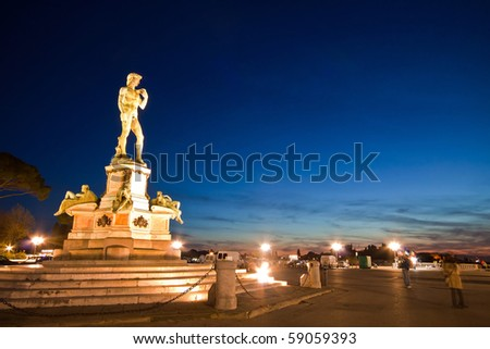 Statue of David at Micheal Angelo Park Florence, Italy - stock photo