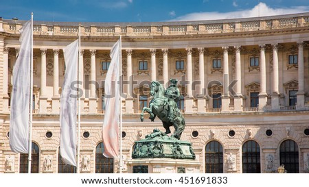 Statue of Emperor Joseph II, Hofburg Imperial Palace was home for the Habsburg.  Vienna (Wien). Landmark Capital Austria - stock photo