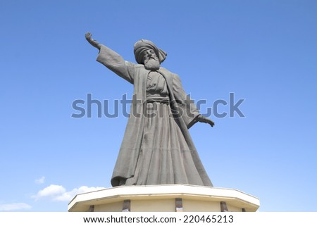 statue of famous Mevlana Rumi, whirling dervish - stock photo