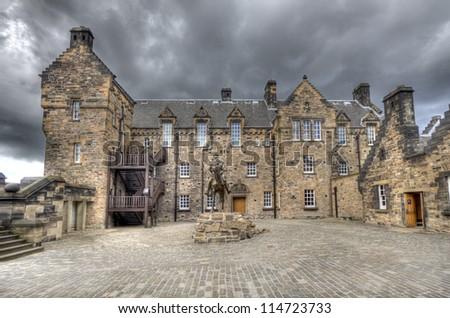 Statue of Field Marshal Douglas Haig in the esplanade of Edinburgh Castle in Edinburgh, Scotland, UK - stock photo