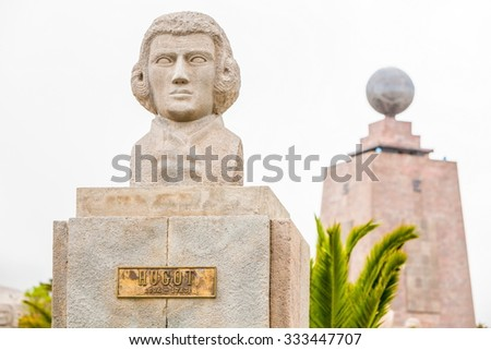 Statue Of French Astronomer Hugot Equator Monument In The Background Quito Ecuador - stock photo