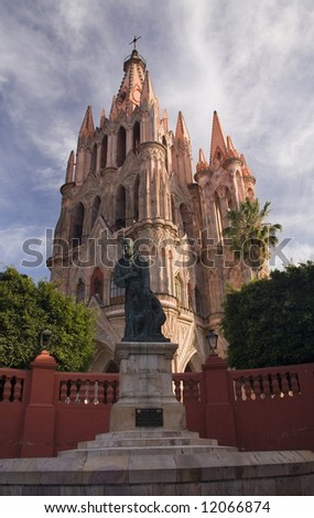 Statue of Friar Juan de San Miguel in front of Parroquia Church, San Miguel De Allende, Mexico - stock photo