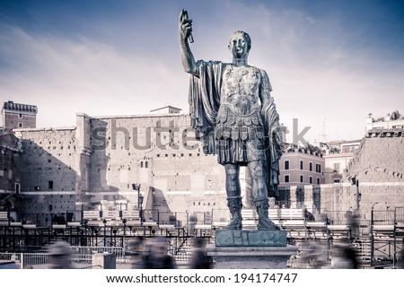 Statue of Gaius Julius Caesar in Rome, Italy - stock photo