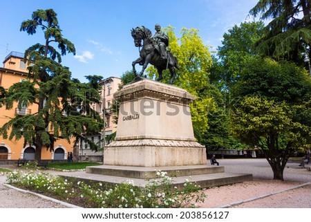 Statue of Garibaldi in Verona, Italy - stock photo