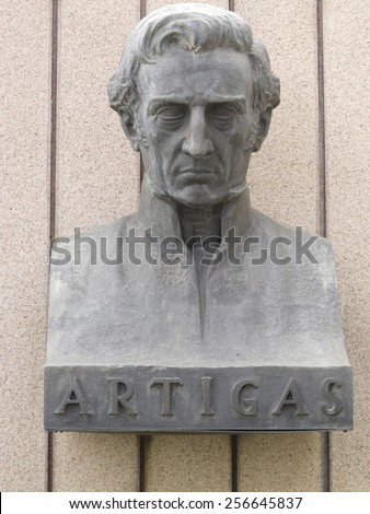 Statue of General Artigas, hero of the independence of the Republic of Uruguay and Argentina - stock photo