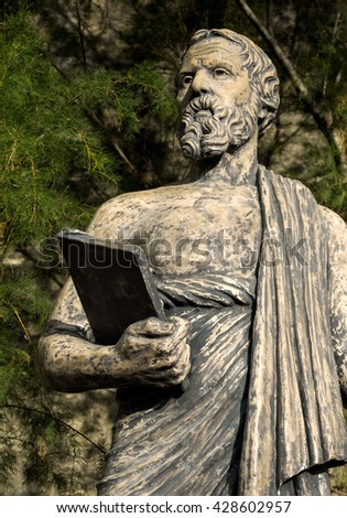 "Statue of Herodotus in old Halicarnassus, modern Bodrum in Turkey. Bust of Herodot - ""The Father of History"" in ancient culture of Greece.  - stock photo"