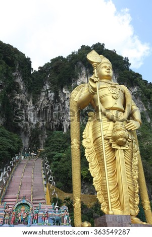 Statue of hindu god Muragan at Batu caves, Kuala-Lumpur - stock photo