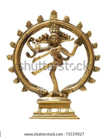 Statue of indian hindu god Shiva Nataraja - Lord of Dance isolated on white - stock photo