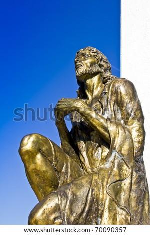 Statue of Jesus Christ praying, in Orthodox church in Macedonia - stock photo