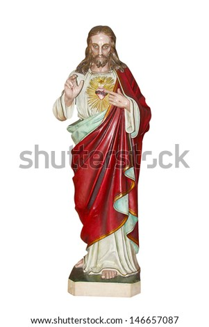 Statue of Jesus Christ. Sacred Heart. Christianity symbol isolated on white background  - stock photo