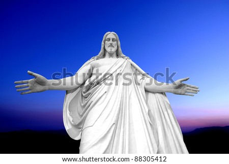Statue of Jesus Christ with hands outstretched - stock photo