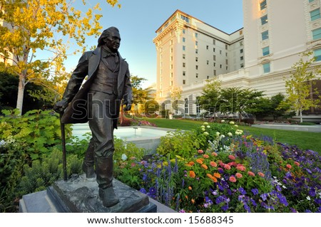 Statue of Joseph Smith Jr. on Temple Square in Salt Lake City - stock photo