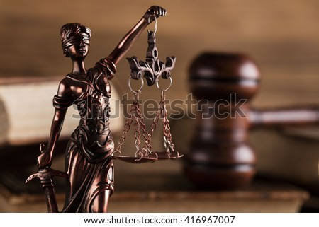 statue of justice, mallet of the judge - stock photo