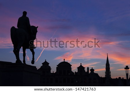 Statue of king Albert I at sunset on the horse, Brussel, Belgium - stock photo