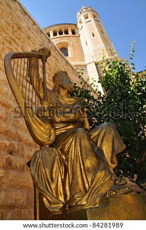 Statue of King David near Dormition abbey. Jerusalem. - stock photo