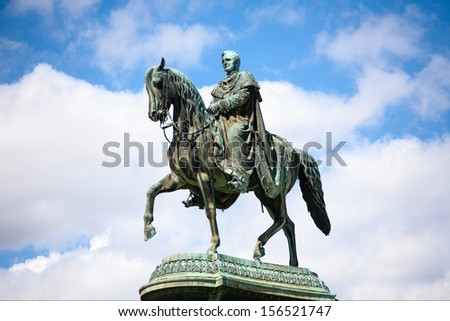 Statue of King John of Saxony in Dresden, Germany - stock photo