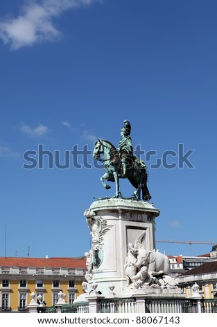 Statue of King Jose I on Commerce Square, Lisbon - stock photo