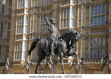 Statue of King Richard 1st in Westminster - stock photo