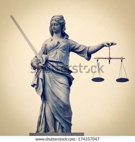 Statue of Lady Justice at Dublin Castle in Dublin, Ireland with retro effect - stock photo