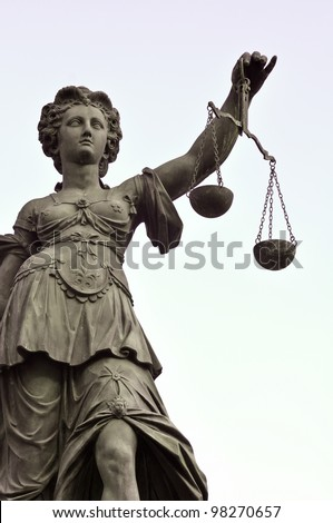 Statue of Lady Justice in Frankfurt Germany - stock photo