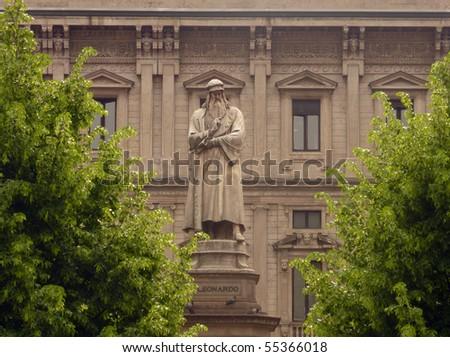 Statue of Leonardo Da Vinci, Milan, Italy - stock photo