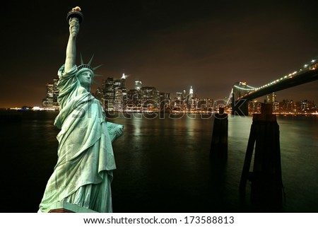 Statue of Liberty against night New York city, USA - stock photo
