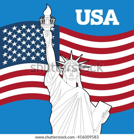 Statue of Liberty and American flag. Symbol of freedom and democracy. Monument of architecture in New York. Patriotic illustration for Independence Day. National Landmark USA - stock photo
