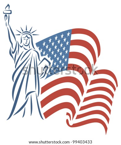 Statue of Liberty and USA flag - stock photo