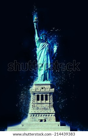 STATUE OF LIBERTY at night illustration - stock photo
