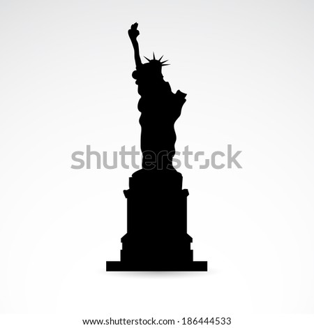 Statue of liberty icon isolated on white background. - stock photo