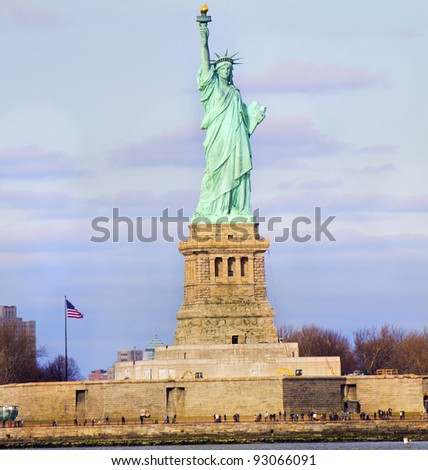 Statue of Liberty in cloudy winter day - New York City, United States - stock photo