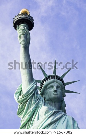 Statue of Liberty in New York City abstract - stock photo