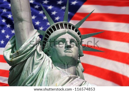Statue of Liberty in New York City celebration and fireworks - stock photo