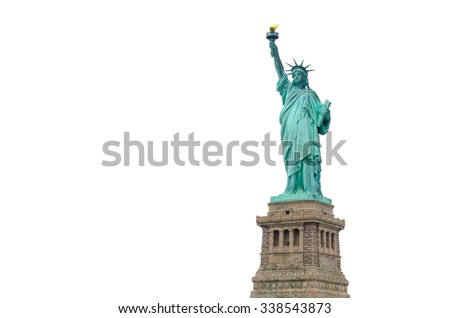 Statue of Liberty in New York City isolated on white background - stock photo