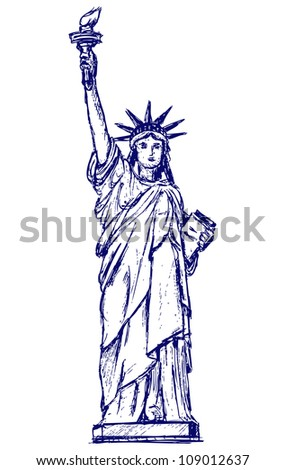 Statue of Liberty in New York City. Raster - stock photo