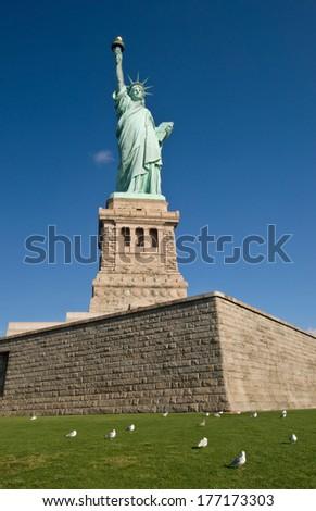 Statue of Liberty in New York Harbor - stock photo