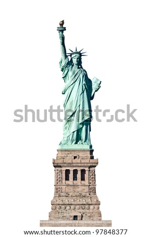 Statue of Liberty in New York isolated Clipping paths included - stock photo