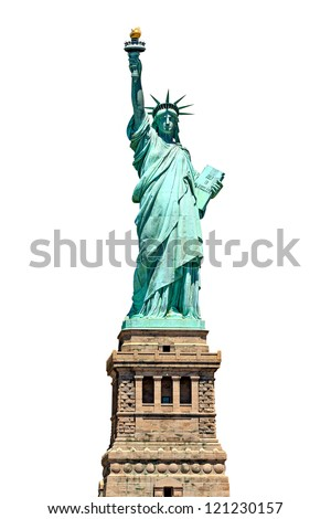 Statue of Liberty - isolated on white - stock photo