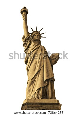 Statue of liberty isolated on white,sepia toned - stock photo