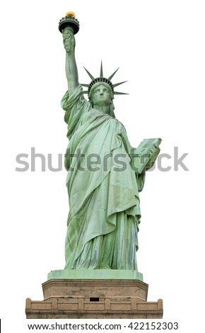 Statue of Liberty, Liberty Statue in New York, USA - with Clipping Path - stock photo