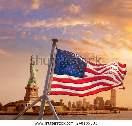 Statue of Liberty New York Manhattan and American flag background USA US - stock photo