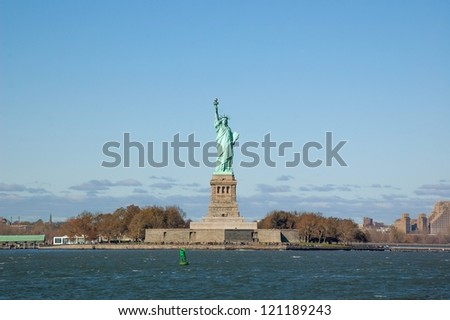 Statue of Liberty on a Clear Autumn Day - stock photo